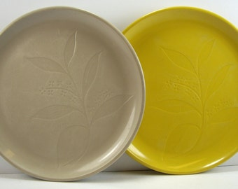Yellow and Gray Desert Flower Melmac Plates by International, Set of Two, Dessert or Cake Plates, 1950's Mid Century Kitchen