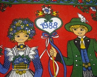 Free Shipping, 1988 Calender Kitchen Towel, Greetings from Austria, Folk Costumes, Kitchen Accessories, Kitchen Decor