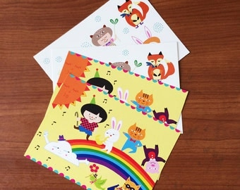 Postcard Set - Set of 4 Illustrated postcards