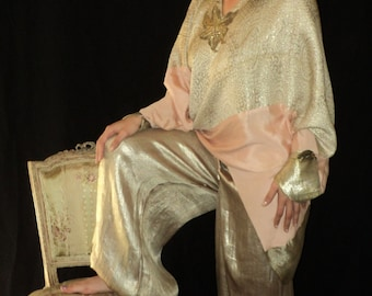 Final Sale Vintage 1920s Flapper Poiret Style Lame Harem Pants Museum quality Silver Lame with pink One of  Kind