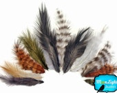 Fluffy Feathers, 1 Pack - NATURAL MIX Grizzly Rooster Fluff Wholesale Feathers 0.05 oz. (bulk) : 3446