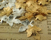 25 Gold or Silver Plated Maple Leaf Drops - 15mm X 12mm - Handmade Jump Rings Included - 100% Guarantee