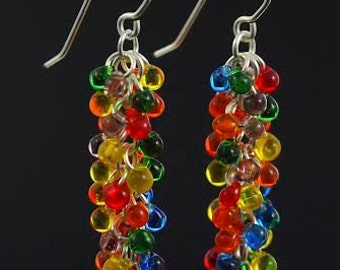 Rainbow Shaggy Beaded Earrings Kit - Miyuki Glass Fringe Beads and Handmade Jump Rings and Ear Wires - Quick and Easy