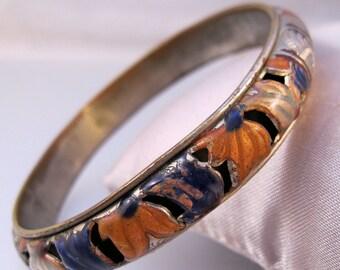 Vintage Bangle Bracelet Silver Plated Brass Enamel Open Work Jewelry