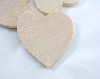 "6 Wooden hearts 2 1/2 inch (2.5"") wide 1/4"" thick unfinished wood hearts diy"
