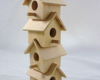 Wooden stacking birdhouse DIY paint your own large