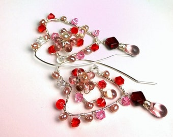 Pearl Pink and Red Crystal Heart Earrings Dangle Wire Wrapped Sterling Silver Valentine