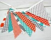Bunting Banner, Photo Prop, Flags, Birthday, Baby Shower, Nursery Decor, Garland, Pennant - Gray, Orange, Grey, Turquoise, Teal, Chevron