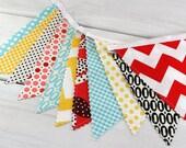 Bunting Fabric Banner, Vintage Nursery Decor, Photography Prop - Aqua Blue, Grey, Red, Pink, Yellow, Gray, Black, Chevron, Gingham