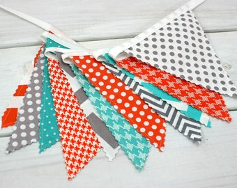 Bunting Banner, Photo Prop, Flags, Birthday, Baby Shower, Nursery Decor, Garland, Pennant - Gray, Orange, Grey, Turquoise, Teal, Chevron