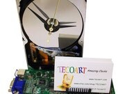 FREE SHIPPING! Business Card Holder Hard Drive Clock from Recycled Hard Drive and Video Circuit Board.