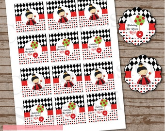 Queen Of Hearts Cupcake Toppers/Favor Tags
