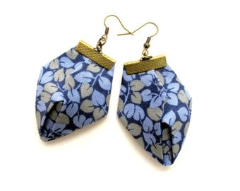 Blue Origami earrings, fabric origami earrings, fiber origami earrings, spring origami earrings