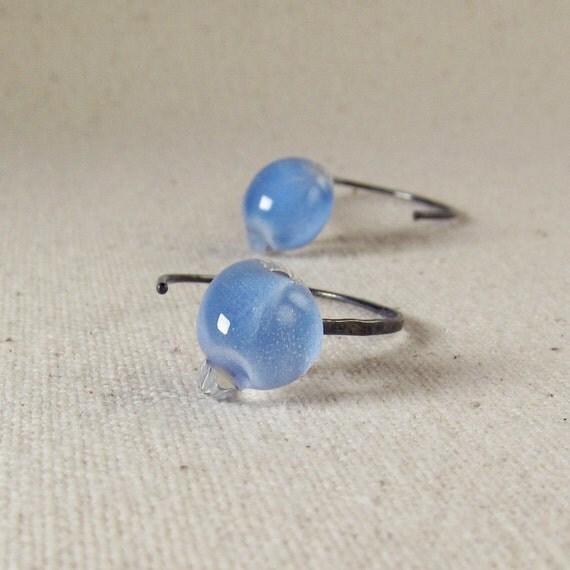 Sky Blue Earrings, Blue Teardrop Earrings, Blue Lampwork Earrings, Small Earrings, Oxidized Earrings