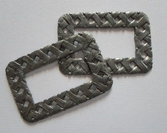 Vintage Steel Basket Weave Frame Findings - Silver Rectangle Stampings Findings