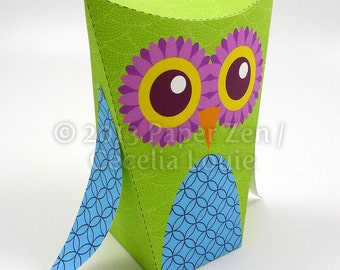 DIY Printable Owl Party Favor Paper Gift Box with Editable / Custom Text in PDF format (2 color themes included)