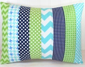 Pillow Cover, Baby Boy Nursery Decor, Patchwork Pillow Cover, Crib Bedding, 12 x 16 Inches, Aqua Blue, Navy and Kelly Lime Green Chevron Dot
