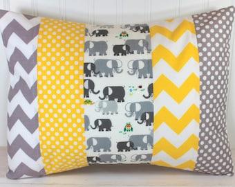 Pillow Cover, Unisex Nursery Decor, Boy or Girl Room, Throw, 12 x 16 Inches, Nursery Pillow Cover, Elephants, Gray, Grey, Yellow Chevron