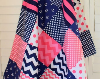 Baby Girl Blanket, Minky Blanket, Crib Blanket, Nautical Nursery Decor, Baby Shower Gift, Pink and Navy Blue Chevron, Dots and Anchors