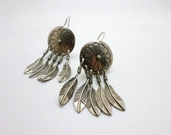 Vintage Silver Dangle Earrings Native American Style