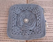 Petite Rose Pouch in warm blue and fully lined