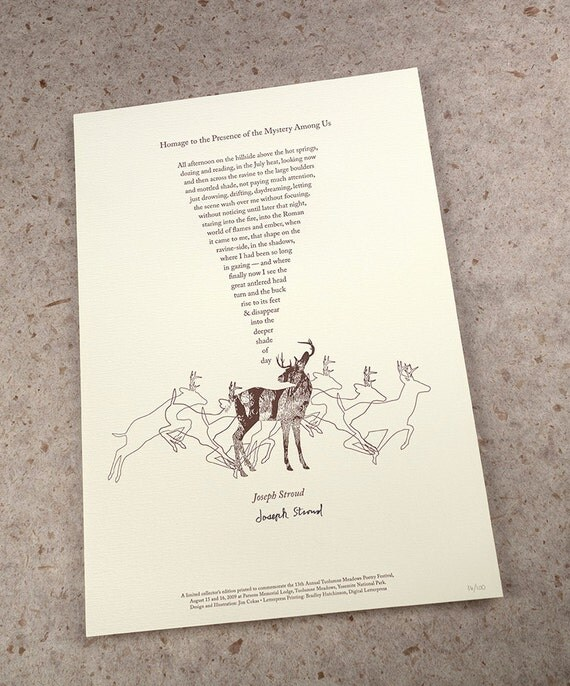 """Letterpress Poetry Print - """"Homage to the Presence to the Mystery Among Us"""" - poet Joseph Stroud, art & design by Jim Cokas"""