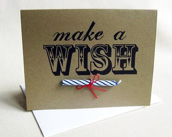 Birthday Card Make a Wish With Candle, Set of 4
