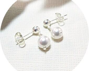 Little Girls Earrings, Pearl Earrings, Toddler Earrings, Flower Girl Earrings, Sterling, Special Occasion, Birthday Gift,  White Pearl