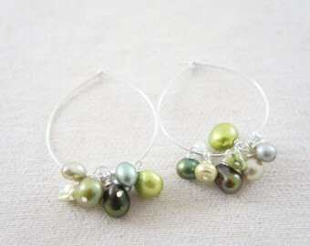 Green shade pearls sterling silver hoop earrings, wedding, bridesmaid, Mother's Day, gift