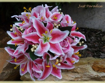 Wedding Bouquet Set - Star Gazer Lilly- Just Paradise