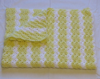 Handmade Pastel Yellow and White Crocheted Baby Blanket Afghan