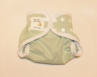 Preemie Newborn PUL Diaper Cover with Leg Gussets- 4 to 9 pounds- Mint and White- 20015