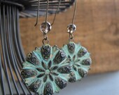 Verdigris Earrings, Vintage Flower Earrings Green Patina, Smokey Quartz Earrings - HAVEN