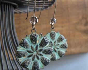 Verdigris Earrings, Vintage Flower Earrings Green Patina, Smokey Quartz Earrings - HAVEN