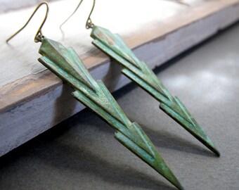 Geometric Verdigris Earrings, Green Rustic Jewelry, Chevron Earrings Triangle Points - ARCHER