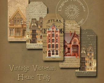 Victorian Vintage House Tags Instant Digital Download