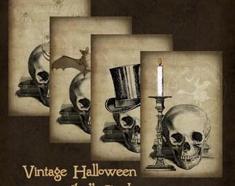 Vintage Halloween Skull Cards Spooky Instant Digital Download