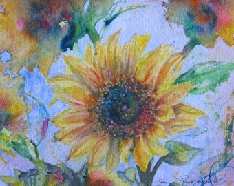 abstract sunflower art, original watercolor painting, flower garden, sunflower painting, flower watercolor, spring art, garden art,  7 x 10