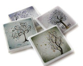Whimsical Tree Art Decorative Coasters Set of 4, Blue, Pink, Green, Purple, Nature Home Decor Accessory, Tile Coaster