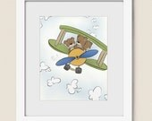 Teddy Bear and  Airplane Childrens Wall Art, 8 x 10 Baby Nursery Decor, Boys Room Art Print (302)