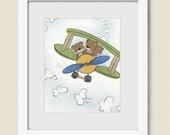Teddy Bear and  Airplane Childrens Wall Art, 8 x 10 Baby Nursery Decor, Boys Room Art Print (302)