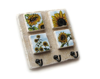 Key Rack, Decorative Tile, Key Holder, Wall Hooks, Sunflower Country Decor, Key Hook Hanger