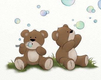 5 x 7 Artwork for Nursery Room Wall Art, Cute Childrens Art Print, Teddy Bear Babys Room Decor, (124)
