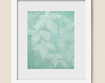8 x 10 Art for Living Room Decor, Nature Wall Art for Home or Office, Sea foam Green Leaf Print (285)
