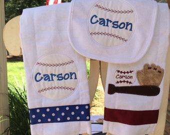 Personalized Baseball sports Baby Bib and Burp Cloth Monogrammed