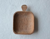 Carved wooden tray with handle vintage rustic light colour natural eco friendly dish