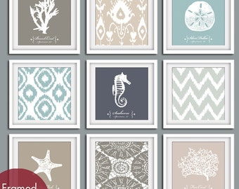 Nautical Pattern Collection - Set of 9 - Square Prints - Featured in Gravel, French Grey, Slate Blue, River Rock, Fog Grey and Truffle Brown