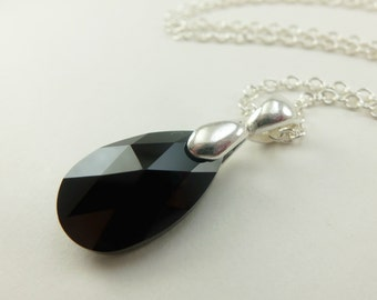 Black Silver Necklace Black Crystal Necklace Teardrop Necklace