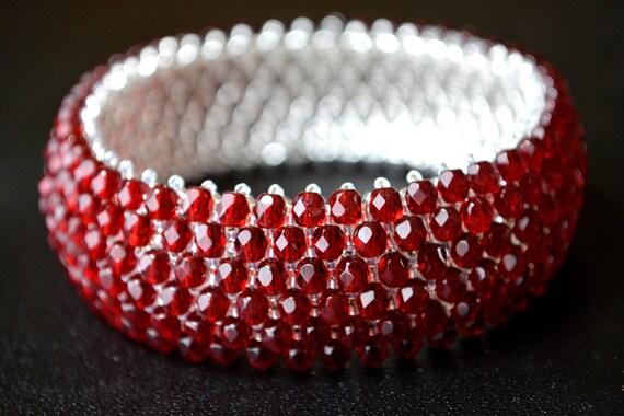 Red Cuff Bracelet Red Jewelry Red Bracelet Beaded Cuff Bracelet Beaded Jewelry