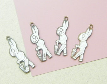 Vintage Rabbit, Rabbit Charms, Bunny Charms, Enamel Charms, Animal Charms,  ANIMAL CHARITY DONATION